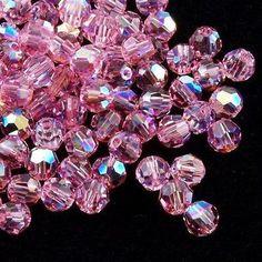Swarovski Crystal 4mm 5000 Round Bead Light Rose AB (223 AB)