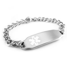 """#Medical_ID Details:- • Brushed Steel Back • Non-Allergenic 2mm Thick Stainless Steel • Slightly Curved for Your Wrist • Size: 1.75"""" x .4"""" • 4 Lines available for custom engraving - FRONT  BACK (please see photos)  --- Bracelet Details ---  • Stainless Steel Curb Chain (Non-Allergenic) • Custom Sized • #Lobster_Claw_Clasp • 1.8mm (gauge) It will cost you for $32.99 (€28.70)"""