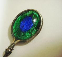 1904 oval blue green peacock enameled glass sterling silver