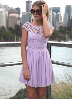 Purple Day Dress - Purple Embroidered Lace Top Dress