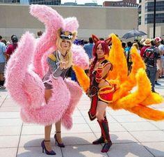 Foxfire Ahri and Popstar Ahri Cosplay