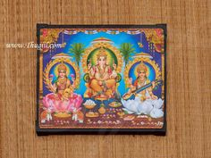 Laminated frames of God and Goddess for puja from Thugil Pooja Rooms, Goddess Lakshmi, Wood Sizes, Lord Ganesha, Gods And Goddesses, Indian Style, Decorating Your Home, House Warming, Picture Frames