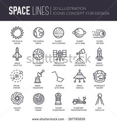 Vector thin lines icons stars in galaxy design concept. Set of huge space infographic universe illustration. Outer space rocket flying up into the solar system with a lot of planets background.