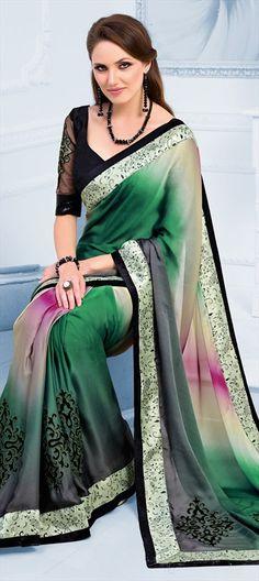 144435: saree prints green ombre Diwali festive partywear