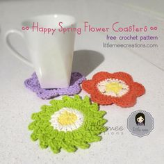 """Are you having a floral-themed birthday party, bridal shower or a celebration party? Looking for some DIY party favors for your guests? Well, these Happy Spring Flower Coasters (free crochet patterns) are just the perfect thing!! Both coasters measure approx. 4.5 inches wide. It's perfect for a cup, glass, coffee mug or even a vase with beautiful flowers! And while I've crocheted them as coasters, there are many other uses such as an embellishment for..."