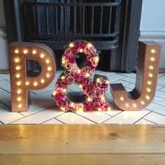 Initials and flower ampersand light up letter by TheWhiteBulb Marquee Letters, Marquee Lights, Paper Flower Wall, Paper Flowers, The Family Stone, Wedding Initials, Light Up Letters, Flower Letters, Wedding Wall