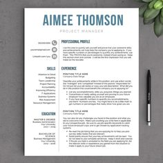 Modern Resume Template for Word - 1 and 2 Page Resume Template, Icon Set, Cover Letter, Tips!