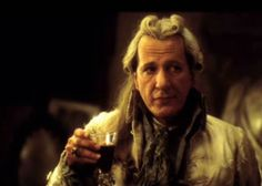 """Geoffrey Rush as a highly fictionalized but Oscar-nominated Marquis de Sade in """"Quills."""" (The real de Sade was nowhere NEAR as charming and """"misunderstood"""" as the character in this film, but Geoffrey's performance is a tour de force! The FIRST--but not last--time he was robbed of an Oscar.)"""