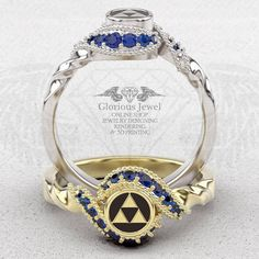 Glorious legend of Zelda inspired ring with Natural Sapphire