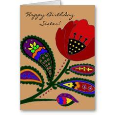Paisley Poppy Ukrainian Folk Art Greeting Card   #ukrainian #ukrainiangifts #Gifts http://www.zazzle.com/ctek101*