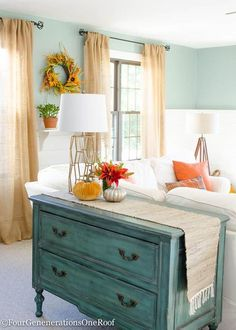 Fall Decorating Ideas {Finding Fall Home Tour 2015} teal for Fall. Love the faux pumpkins, runner, lamp and bureau from HomeGoods {sponsored pin}
