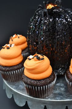 Chocolate Cupcakes with Halloween sprinkles by Bake Sale Toronto. Fun Cupcakes, Freshly Baked, Bake Sale, Chocolate Cupcakes, Cake Pops, Sprinkles, Toronto, Cookies, Baking