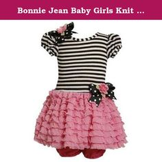 Bonnie Jean Baby Girls Knit Bodice To Drop Waist Multi Ruffle Skirt, Pink, 0-3 Months. Up for your consideration is this delightful dress from Bonnie Baby (line from Bonnie Jean). This short puff sleeve dress features black / white strip knit top, black w/ white polka dot grosgrain bow (adorned with fabric flower) at right side shoulder & at side drop waistline, pink ruffled tiered mesh skirt, and extra tulle netting underneath for a little more fullness. Comes with a pink panty. A…