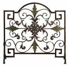 TUSCAN Medallion Flat Panel FIREPLACE SCREEN Solid Metal Stand Acanthus Leaf