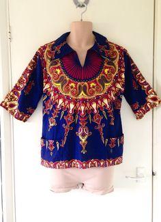 Original 60s 70s VTG Tribal Print Artist Pocket Smock Top Festival Men M Women L