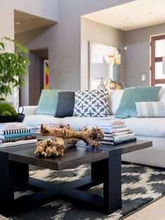 A gorgeous rug can tie your whole look together—see how we did it in HGTV Smart Home 2017 with design tips and ideas courtesy of Bassett Furniture & Home Accessories. Office Pictures, Room Pictures, Hgtv Smart Home 2017, Create Your Own Canvas, Built In Bookcase, Room Tour, White Walls, Great Rooms, Home Office