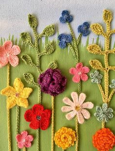Items similar to Beautiful crocheted flowers and acrylic painting on box canvas wall art on Etsy Crochet Wall Art, Form Crochet, Thread Crochet, Crocheted Flowers, Crochet Doilies, Cloth Flowers, Diy Flowers, Floral Wall Art, Clothes Crafts