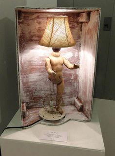 Steampunk Baby Doll Lamp with Burlap Shade by RichKitsch on Etsy, $125.00