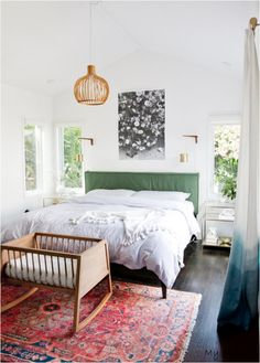 Rugs – Home Decor : Colorful midcentury modern bedroom with a pink rug, green headboard and brass wall sconces. Home Bedroom, Bedroom Decor, Bedroom Ideas, Bedroom Colors, Bedroom Rugs, Bedroom Lighting, Decorating Bedrooms, Bedroom Carpet, Baby Bedroom