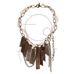 Deri ve pembe incili kolye / Leather necklace with pink pearls