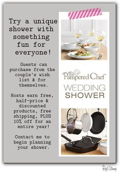 Pamper the new couple with high quality kitchen tools.   Pampered Chef offers multipurpose kitchen tools, providing expert cooking tips and creating simple recipes that enhance shared mealtime and suit busy lifestyles. With a product line that includes more than 300 offerings – from entertaining to cookware, cutlery to cookbooks, stoneware to pantry products, we have the simple and affordable solution for your needs.