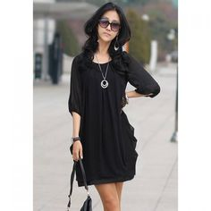 Wholesale Refreshing Casual Plus Size Three Quarter Sleeves Scoop Neck Chiffon Dress For Women Only $3.25 Drop Shipping | TrendsGal.com