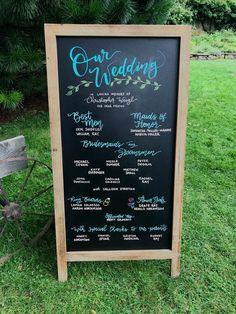 Outdoor wedding boho chalkboard program Wedding Programs, Wedding Venues, Bridesmaids And Groomsmen, Key Design, Budget Wedding, Dear Friend, Event Design, Boho Wedding, Chalkboard