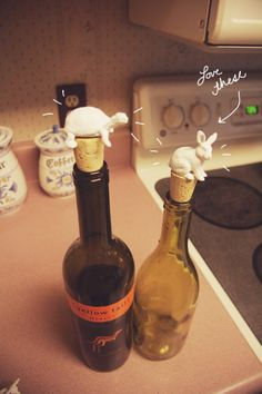 farm animal figurines as wine bottle toppers (woodland creatures, marine, wildlife, jungle...)