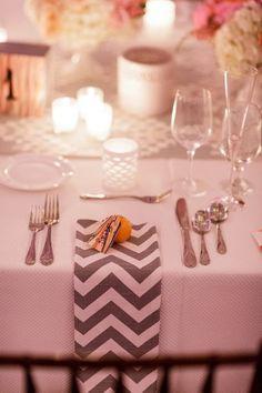 Chevron napkins with a lemon place card holder ~ {Renaissance Floral Design} #weddings