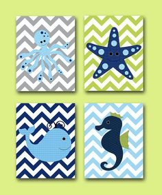 Sea Whale Octopus Starfish Baby Boy Nursery art print Children Wall Art Baby Room Decor Kids Print set of 4 11x14 Seahorse grey blue green on Etsy, $80.00