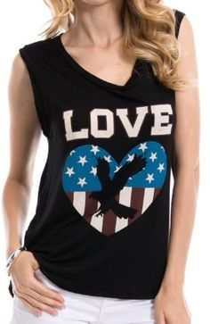Lovely Top with patriotic heart. 96% Rayon, 4% Spandex 25.5' long, Made In USA.    Color-Black    S-M-L | Shop this product here: spreesy.com/just4littlethings/67 | Shop all of our products at http://spreesy.com/just4littlethings    | Pinterest selling powered by Spreesy.com