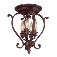 Millennium Lighting 12-in W Rubbed Bronze Semi-Flush Mount Light