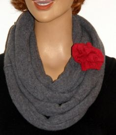 Felt Gray Merino Wool infinity scarf upcycled merino wool Red felted flower made by  mcleodhandcraftgifts Etsy | mcleodh