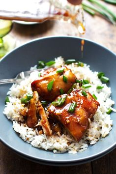 This sticky bourbon chicken is so easy to make! Perfect served with rice, green onions, and a drizzle of extra sauce.