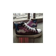 Painted Moustache Galaxy Canvas Sneakers ($35) ❤ liked on Polyvore featuring shoes, sneakers, footware, black small heel shoes, clear sneakers, black sneakers, short heel shoes and black low heel shoes