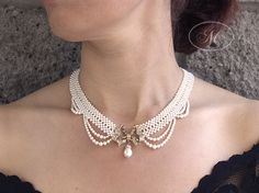 Woven Seed Pearl Necklace with Antique Bow Brooch - Marina J Jewelry