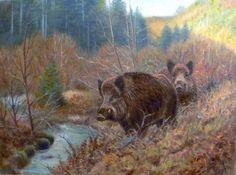 Boar Hunting, Hunting Art, American Animals, Wild Boar, Animal Posters, Mundo Animal, Wildlife Art, Old West, Animal Paintings