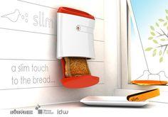 Skinny toaster saves precious counter space.