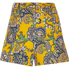 Yellow textured paisley print shorts - smart shorts - shorts - women