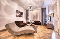 Spacious two bedroom apartment No. in Residence Brehova. Outstanding location in the Jewish Quarter! Prague Apartment, Two Bedroom Apartments, Comfortable Sofa, Apartment Interior Design, Cool Kitchens, Living Area, Couch, Furniture, Home Decor