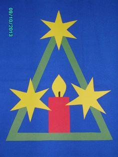 Fensterbild Tonkarton Kerze Stern Advent Weihnacht