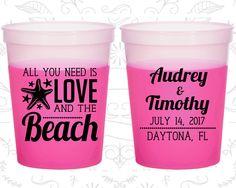 All you Need is Love and the Beach, Custom Mood Cups, Beach Wedding, Starfish Wedding, Magenta Mood Cups (412)