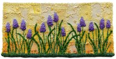 Grape Hyacinths 2  |  by Kirsten Chursinoff via Flickr ......... French knots on the Patchwork Background