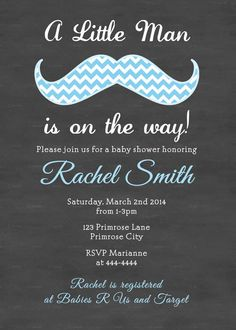 Little Man Chalkboard Blue Chevron Moustache Baby Shower Invitation and FREE Thank You Card Printable DIY on Etsy, $11.37 AUD