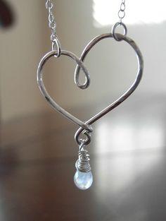 Beautiful hammered silver heart necklace - very similar to one made for me by my aunt