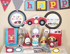 Red Race (Racing) Car Birthday Printable DIY Party Kit