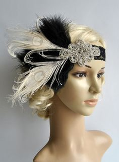 Flapper Lace Rhinestone Feather Headband Lace flapper costume black… - All For Simple Hair Great Gatsby Headpiece, Gatsby Headband, Flapper Headpiece, Rhinestone Headband, Crystal Rhinestone, Fascinator, Stretchy Headbands, Floral Headbands, 1920s Hair Accessories