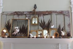 Cool fall mantel decorations with a reclaimed door