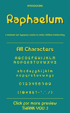 Introducing, Raphaelum  A minimu set of font, created to mimic children¡¯s writing. Inspired by Schools and kids.  Suitable for bir