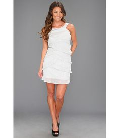Laundry by Shelli Segal Sleeveless Tiered Dress Silver - Zappos.com